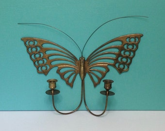 Vintage Large Brass Butterfly Wall Sconce Double Candle Holder
