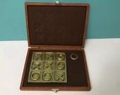 Vintage Brass Tic Tac Toe Game in Case