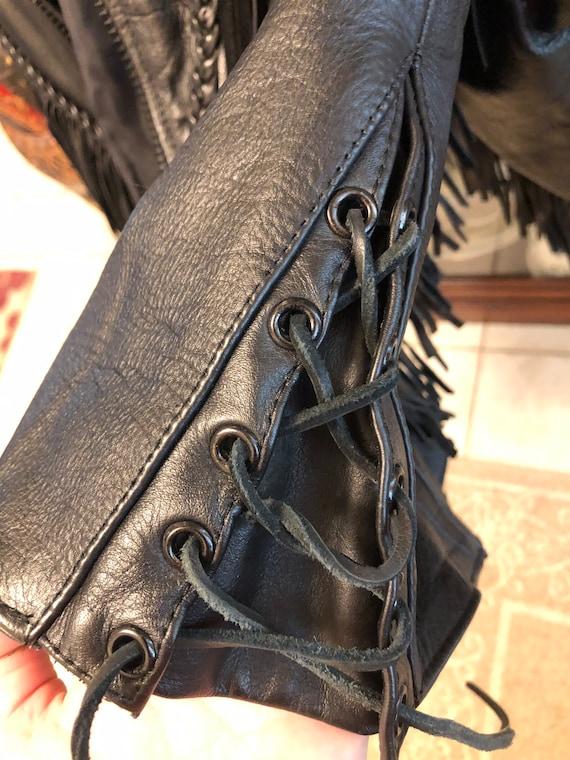 Fringed Black leather Jacket - image 8