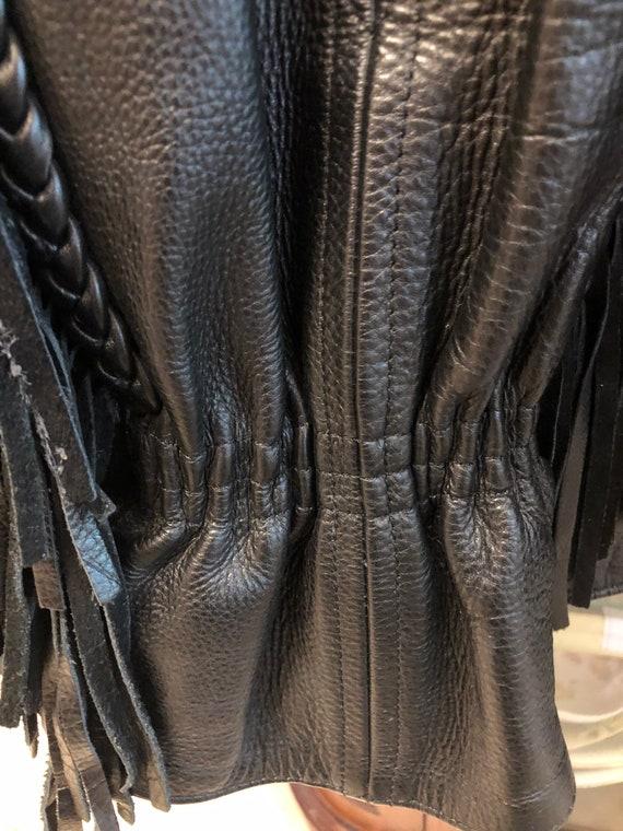 Fringed Black leather Jacket - image 3