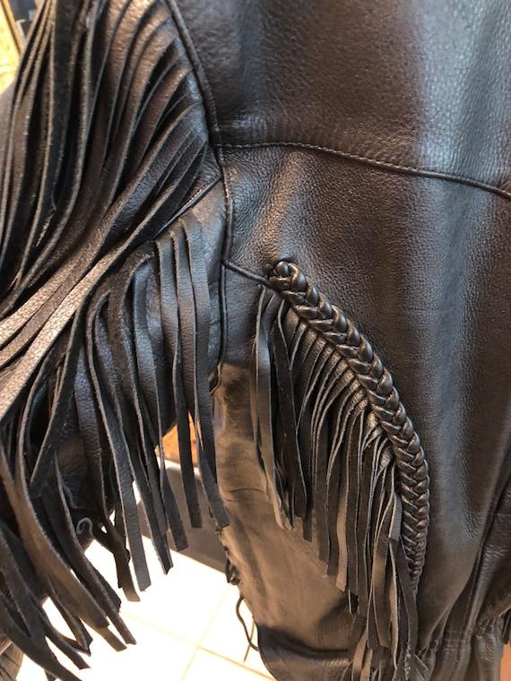 Fringed Black leather Jacket - image 4