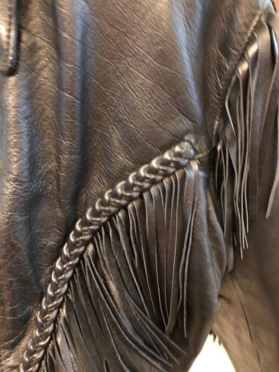 Fringed Black leather Jacket - image 9