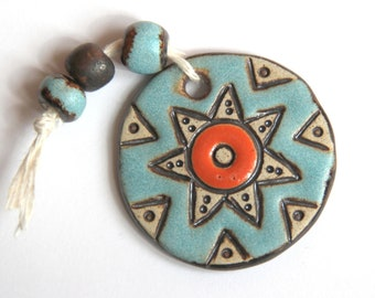 THE SUN Focal - Handmade ceramic pendant with accompanying beads - for necklace - jewelry making
