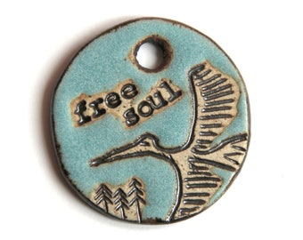 FREE SOUL Flying Bird Focal - Handmade ceramic pendant for necklace - jewelry making