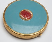 Vintage compact Aqua blue enamel gold filled powder compact with carnelian stone and faux pearls French Ormolu edge 1920s
