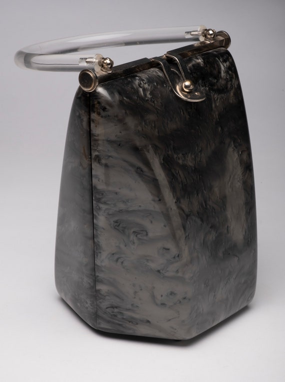 Vintage purse llewellyn lucite purse Grey & black… - image 3