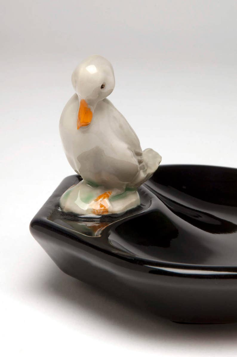 Wade RARE WHITE DUCK with SILVER DETAIL Whimsie  1 of only 50 ever made