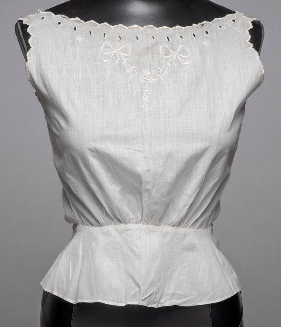 Antique Edwardian corset cover camisole white cott