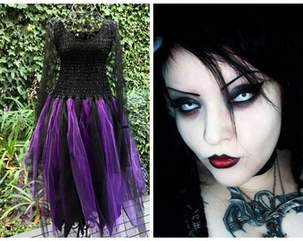 96620646a0f Adult Black Widow Dark Fairy Dress ~ Woman s and Plus Size Grunge Costume ~  Gothic ~ BoHo ~Vampires   Werewolves ~Steampunk~ Medieval