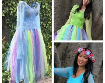 Woman's Rainbow  Fairy   Costume ~ Mardi Gras~ Masquerade ~ Halloween ~ Hens Night ~Burlesque