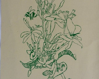 In Our Garden 1, silkscreen illustration printed by hand on recycled paper, Greece