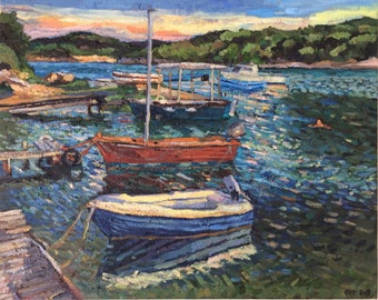 """The Little Port Behind the Church,  """"The Little Crab,"""" Porto Heli, oil on canvas, 41 x 51 cm"""