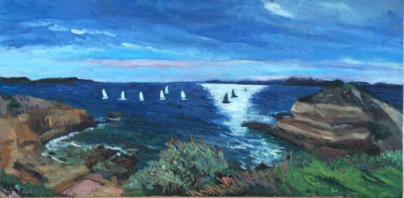 Seascape Glyfada Greece 30 x 60 cm oil on canvas 2015 image 0
