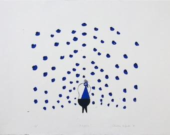 Peacock, 50 x 72 cm, hand-pulledsilkscreen print, 2017