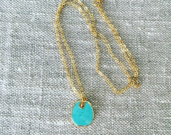 Turquoise Charm with Gold Chain Necklace