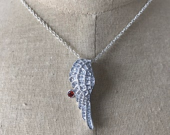 Silver Angel Wing Charm Necklace
