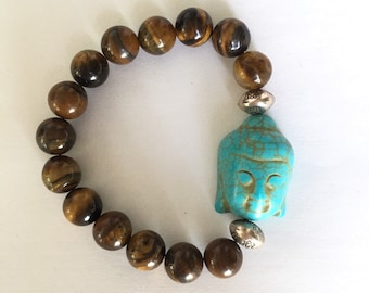 Tigers Eye Bead Bracelet with Buddha