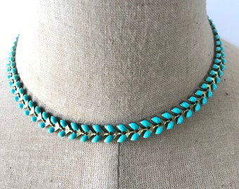 Turquoise Chevron Chain Link Necklace/Choker
