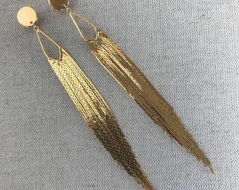 Gold Tassel Fringe Statement Earrings