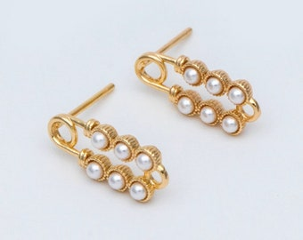 Faux Pearl Safety Pin Stud Earrings