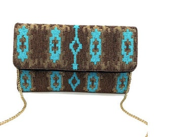Gold and Turquoise Ikat Beaded Clutch/Crossbody Bag
