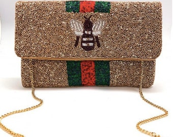 Bee You Gold Bead Bag/Clutch