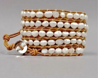 Tan Leather Pearl Wrap Bracelet