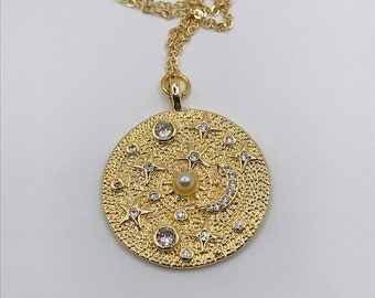 Crystal Moon and Star Medallion Necklace