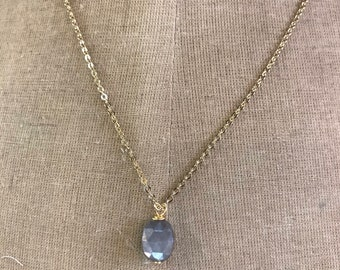 Grey Moonstone Gold Necklace