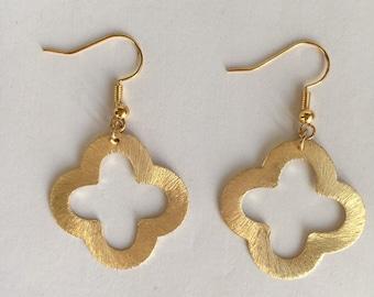 Gold Quatrefoil Clover Shape Earrings