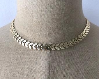 Gold Chevron Chain Choker /Necklace