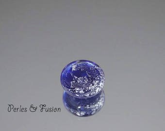 Handmade Lampwork Glass cabochon/bead * silver * blue night/silver - glass Lampwork ring-creation or glass - glass ring bead