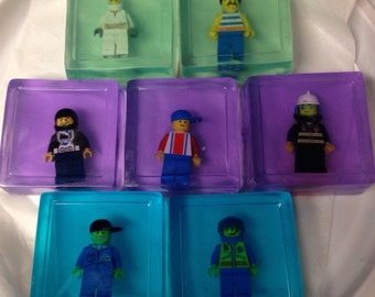 Summer Fun Three Pack of Soap made with LEGO® Guy Minifigure Soap Pack- Save the Man Kid Soaps Practical Fun Gift