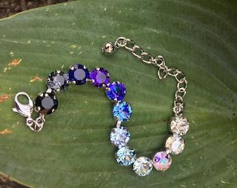 Ombre Clear Blue Purple BlackSwarovski Crystal Tennis Bracelet