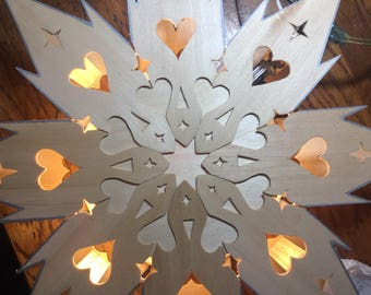Scandinavian Star Heart Memory Light LED Nordic Swedish Finnish Star and Heart Light hand-carved