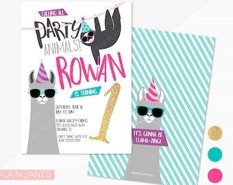 Party Animal Llama Sloth Birthday Invitation   Llama Birthday Party   Boy or Girl   Zoo Birthday Invitation   Party Animal Printable - 5X7