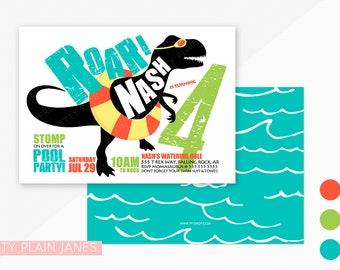 "Dinosaur Pool Party Birthday Invitation   Dinosaur Digital Printable Invite   Dino swim Party Invitation - 5X7 with *bonus reverse side"""