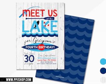 Lake Birthday Party Invitation   4th of July Lake Party   Digital Lake Birthday Invite   Summer Water Invite   Boy or Girl Lake Invite