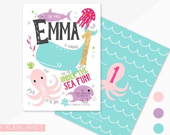 Under The Sea Birthday Invitation   Boy or Girl Under the Sea Birthday Invitation   Under The Sea Digital Printable Invitation - 5X7