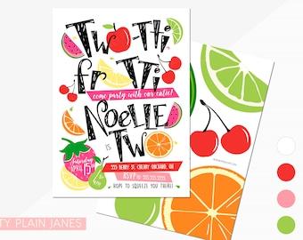 Two-tti Frutti 2nd Birthday Invitation   Two-tti Fru-tti Digital Printable Invite   Boy or Girl Tutti Frutti Birthday   Tutti Frutti TWO