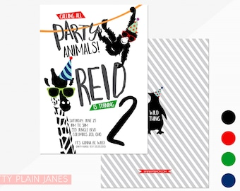 Party Animal Birthday Invitation | Zoo Birthday Invitation | Party Animal Printable - 5X7 with *bonus reverse side""