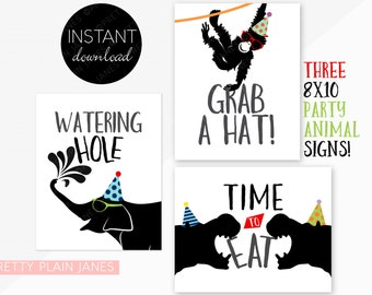 INSTANT DOWNLOAD Party Animal Signs   8X10 Party Signs   Party Animal Birthday Decor   Zoo Birthday Signs