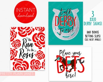 INSTANT DOWNLOAD 8X10 Kentucky Derby Signs | Run for the Roses | Talk Derby To Me | Derby Horse Party Printable | Printable Betting Slips