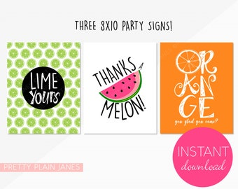 INSTANT DOWNLOAD Fruit Signs   8X10 Tutti Frutti Party Signs   Fruit Stand Birthday Decor   Two-tti Frutti Party Signs