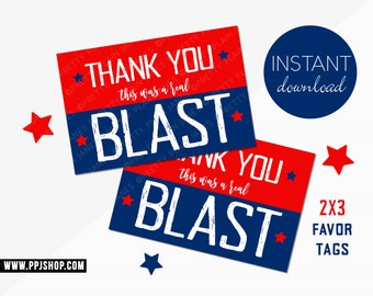 INSTANT DOWNLOAD 4th of July 2X3 Favor Tags   Printable Red White Blue Party Tags   Stars Stripes Instant Download   Patriotic Birthday Tags