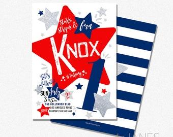"Red, White & Blue Birthday Invitation   4th of July Birthday Invitation   4th of July Digital Invite - 5X7 with *bonus reverse side"""