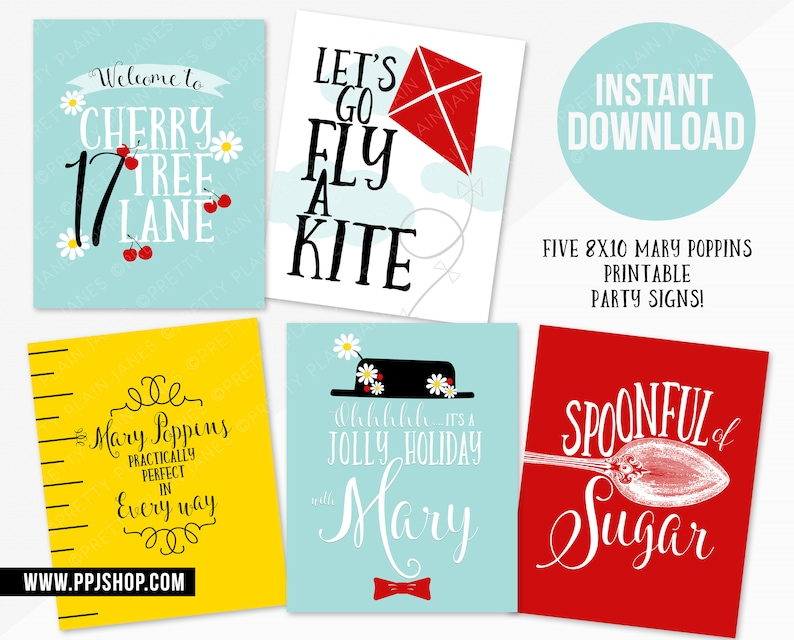 INSTANT DOWNLOAD 8X10 Mary Poppins Party Signs | Spoonful of Sugar Sign |  Practically Perfect Sign | Mary Poppins Printables