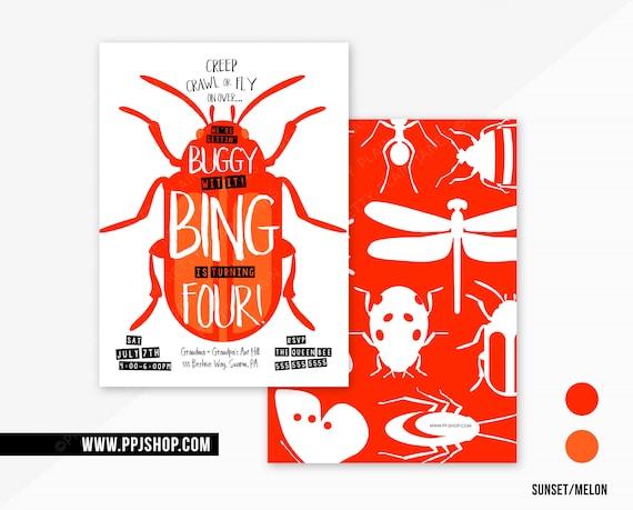 Bug Party Birthday Invitation Insect Digital Printable