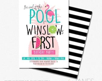 "Pool Party Invitation   Printable Digital Pool Party Invite   Tropical Birthday Invitation   Pineapple Party - 5X7 with *bonus reverse side"""