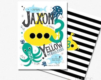 "Under The Sea Birthday Invitation   Yellow Submarine Birthday Invitation   Under The Sea Digital Printable - 5X7 with *bonus reverse side"""